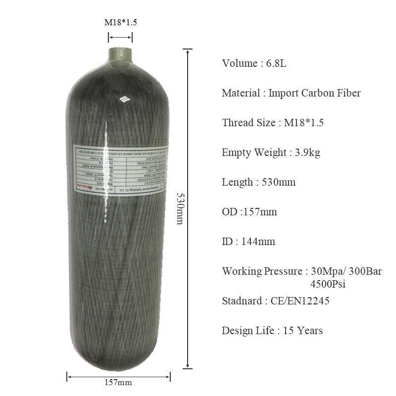 AC168 6.8L CE Composite Carbon Fiber Cylinder Diving Tank Air CO2 Oxygen Tank SCBA 4500Psi Paintball PCP Air Rifle Tank Acecare