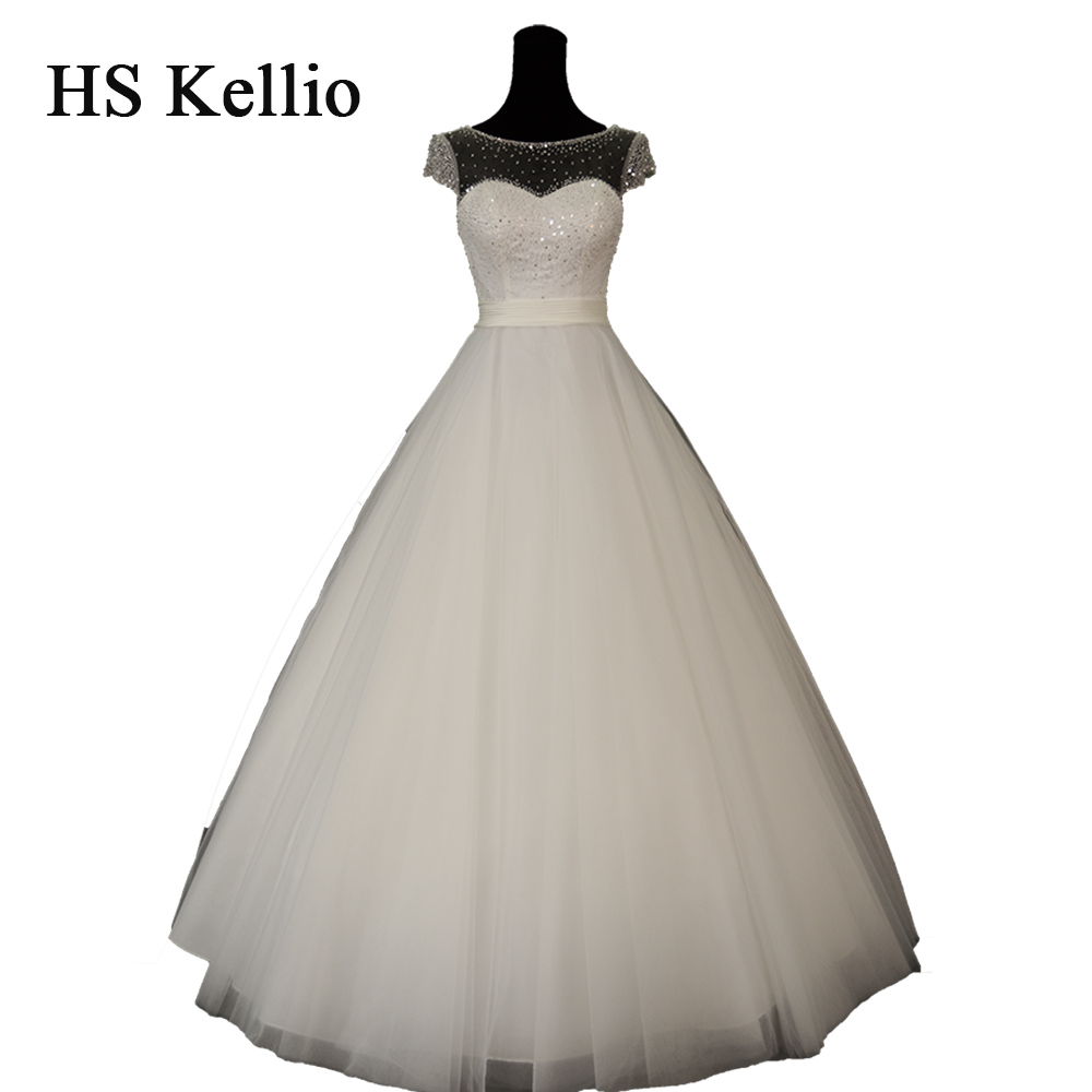 HS Kellio Wedding Dress Beaded Top Bodice Short Sleeve Bridal Gowns 2019 Vestido De Novias With Pleated Belt