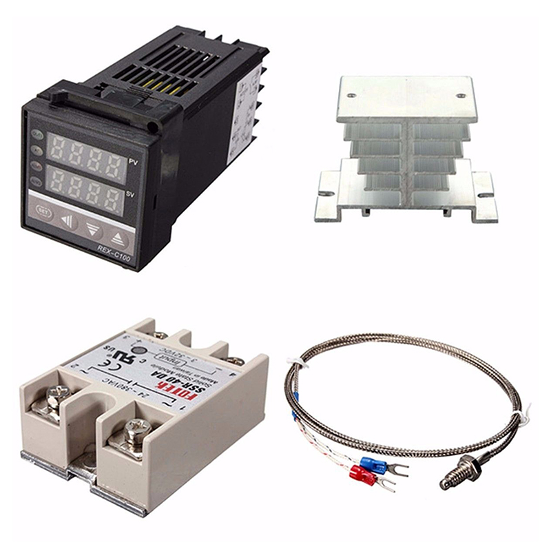 Digital 220V PID REX-C100 Temperature Controller + max.40A SSR + K Thermocouple, PID Controller Set + Heat Sink Digital Display