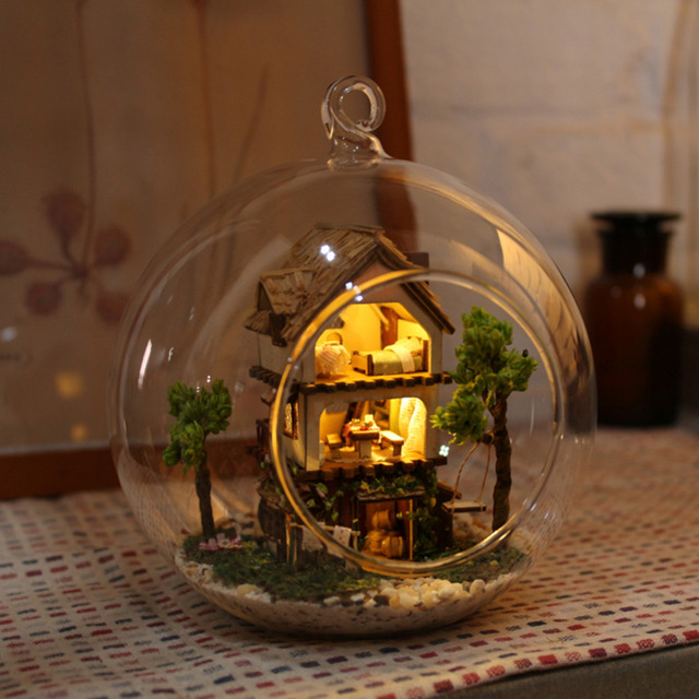 New cute handmade glass house creative design diy mini for Unique new home gifts
