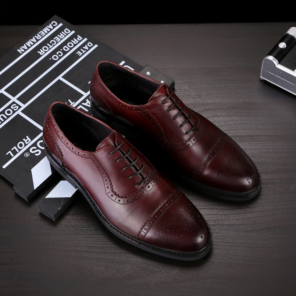 2017 Latest Men's Shoes Genuine Leather Lace Up Dress Office Oxfords Brogue Wedding Party Shoes Basic Style Round Toe EU37-44 2016 men s oxfords dress wedding shoes genuine leather point toe lace up carving eu38 44 3colors latest full grain leather