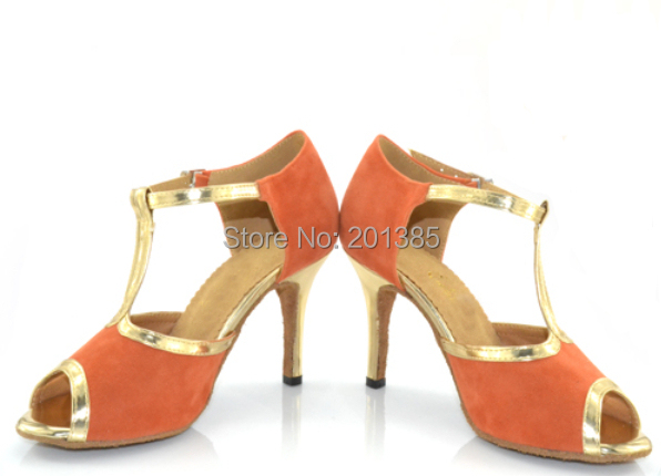 Sexy Women Orange Suede SALSA LATIN Dance Shoes Ballroom Dance Shoes Salsa Tango Bachata Mambo Shoes Suede Sole ALLSIZE