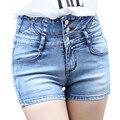 Primavera Verão 2016 Cintura Alta Shorts Jeans Azul Jeans Skinny Slim Mulher Denim Shorts Feminino masculino Sexy Calças Curtas Casuais