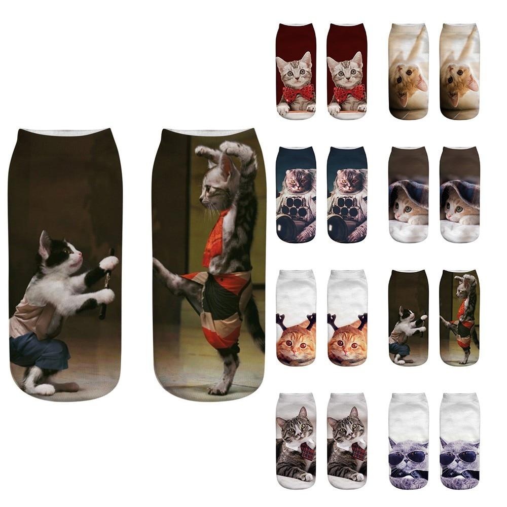2019 NEW HOT CUTE 3D Fashion Cat Printed Casual Socks Cute Low Cut Ankle Socks  Free Ship T4