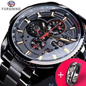 Forsining Watch + Bracelet Set Combination 2019 Black Clock Steampunk Complete Calendar Mens Sports Mechanical Automatic Watches|Mechanical Watches|   -