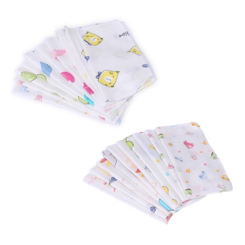 10 Pcs Baby Cartoon Gesicht Taschentuch Doppel Schicht 100% Baumwolle Gaze Kleinkind Fütterung Platz Handtücher Neugeborenen # Bc15 # Gesundheit Effektiv StäRken