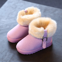Non Slip Toddler Shoes Booties Autumn Winter Kid Girl Snow Boots Warm Fuffly Plush Children Ankle