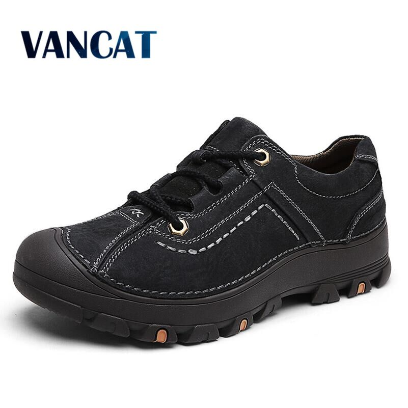 VANCAT Fashion Men Shoes Casual Real Genuine Leather Comfortable Breathable Spring And Autumn Waterproof High Quality Men Shoes micro micro 2017 men casual shoes comfortable spring fashion breathable white shoes swallow pattern microfiber shoe yj a081