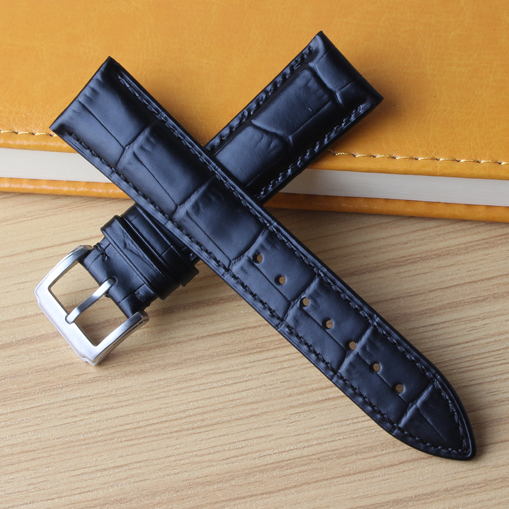 Watchband Leather Strap Blue cowhide leather silver clasp 16 18mm 19mm 20mm 21mm 22mm genuine Watchbands for quartz watches men watchband snake leather waterproof watches straps men fashion accessories bracelet 18mm 19mm 20mm 21mm for ar watchband