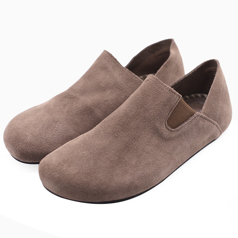 Careaymade-Genuine Leather Round-headed Cattle Shoes of Literature&Art with Suede Sand Skin, Big-headed Doll Shoes, Lazy Shoes