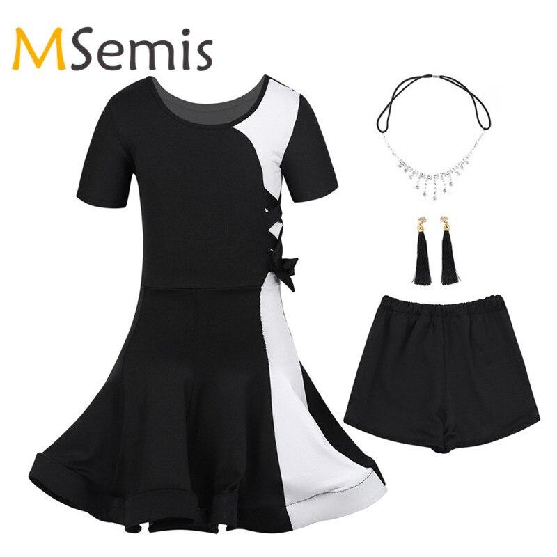 Kids Girls Latin Dance Dress Latin Dancewear For Girls Outfit Color Block Dance Dress With Headwear Earrings Tight Shorts Set