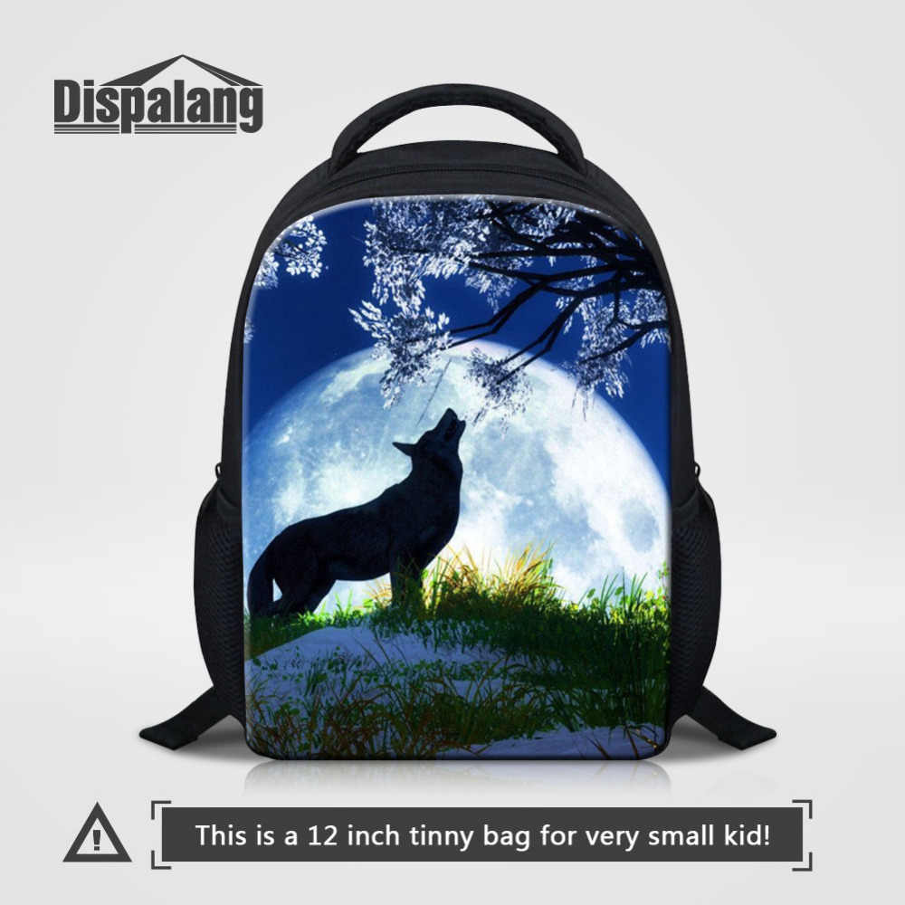 cc963a3ce5f2 Dispalang Kindergarten Backpack Small Schoolbag Wolf Moon Print Children  Boys Girls School Bags For Child Students Book Bag