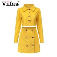 44f1251c278b2 Viifaa الأصفر اثنين قطعة سروال قصير الشتاء البسيطة اللباس الأنيق مكتب سيدة  الشارع الشهير فساتين المرأة