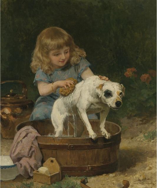 Louis Marie de Schryver Bath Day Girl Bathe the Dog Oil Painting ...
