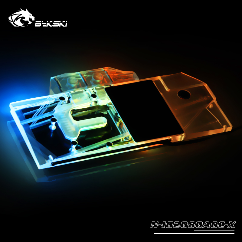 Bykski Water Block use for Colorful RTX 2080 Advanced OC V3/RTX2070 V2/2060 AD Full Cover Copper Radiator Block/A RGB/RGB Light