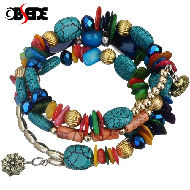 de663c0c469c2 US $1.78 48% OFF|OBSEDE Bohemia Women Vintage Multilayer Charm Beads  Bracelets Blue Stone Bangles Wristband Crystal Fashion Female Jewelry-in  Charm ...