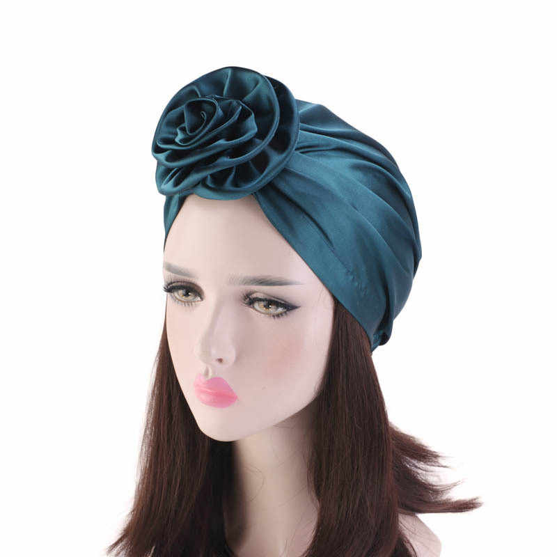 Helisopus Muslim Turban Flower Headscarf New Chemo Hat Women Fashion Solid Color Headbands Ladies Hair Accessories