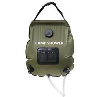 Portable 20L Army green Folding Water Shower Bag Outdoor Camping Hiking Self Driving Tour Solar Heating with Thermometer