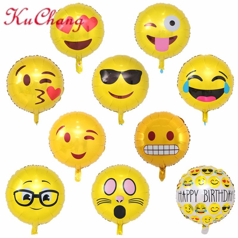 10pcs/lot Emoji Foil Balloons Cool/love/kiss/naughty