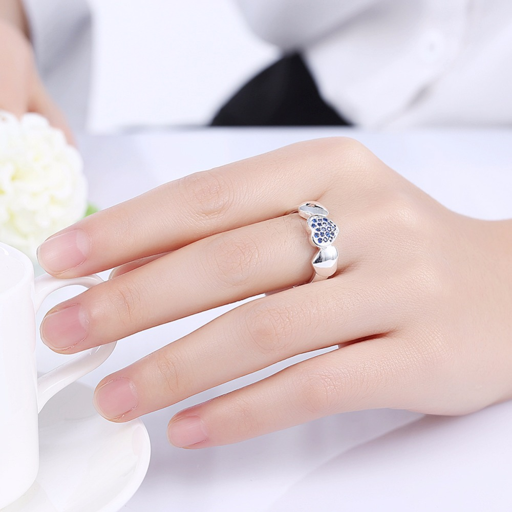 Blue Heart Unique ring finger wear 925 silver Rings with nice gift ...