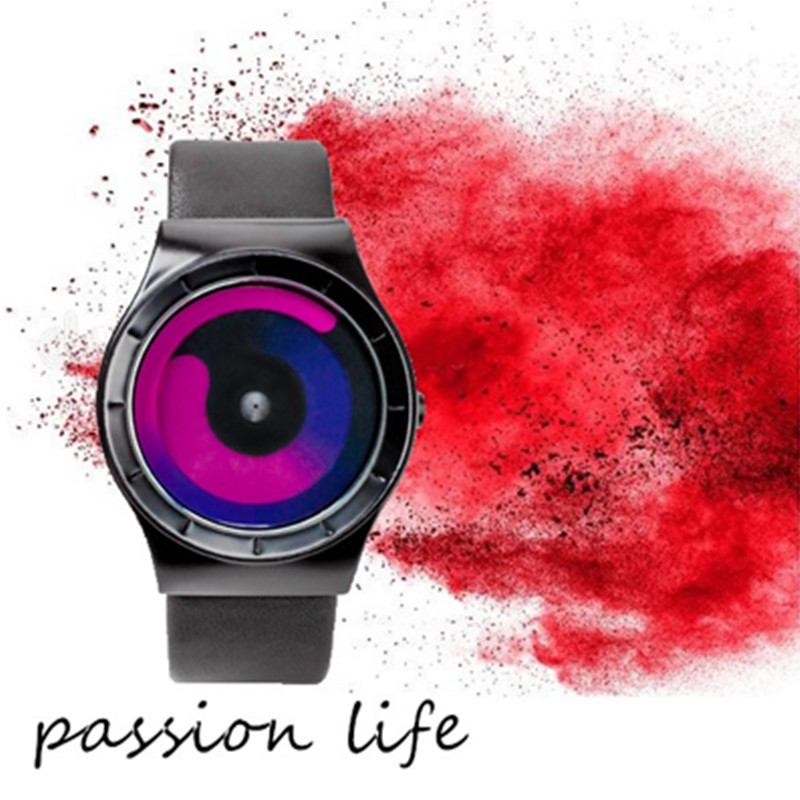 Leather Creative Watch Sports Fashion Trends Science Fiction Secret Dial No Quartz Watch Men's and Women's Watches