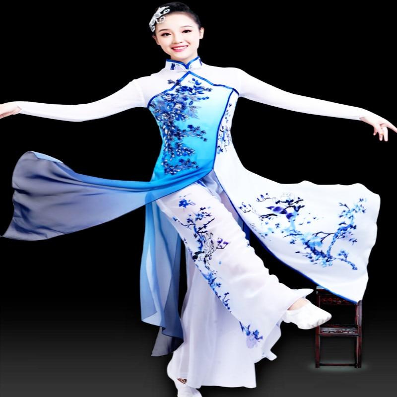 Classical Dance Costume elegant Fan Dance Costume Blue and white porcelain National Dance Costume Jiangnan performance