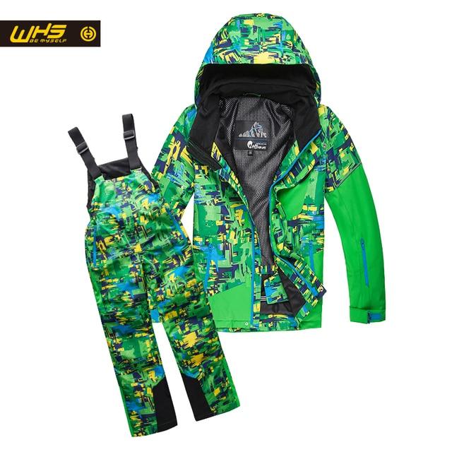 WHS мальчиков Лыжный костюм зимние Куртки и Штаны детская Лыжная куртка брюки Детская водонепроницаемая одежда ветрозащитная куртка штаны От 4 до 16 лет