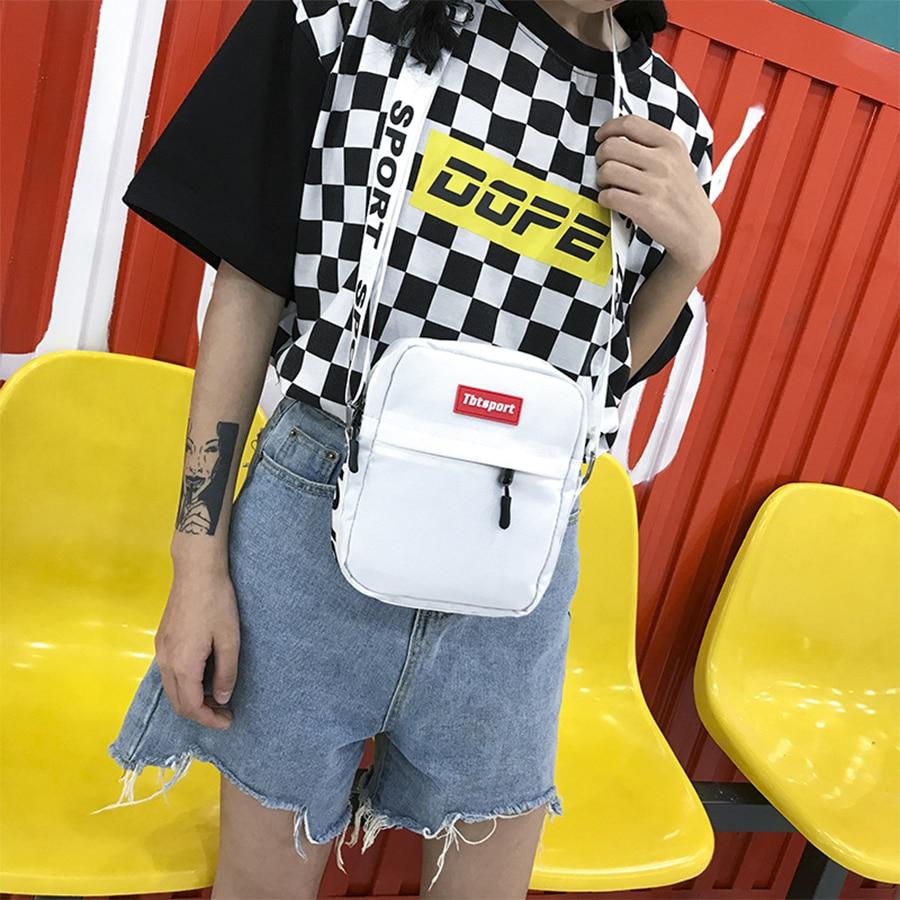 Japanese Harajuku Letters Women Canvas Shoulder Bag Hip Hop Mobile Phone Bag Ins Cool Couple Messenger Bag Small Square Package messenger bag