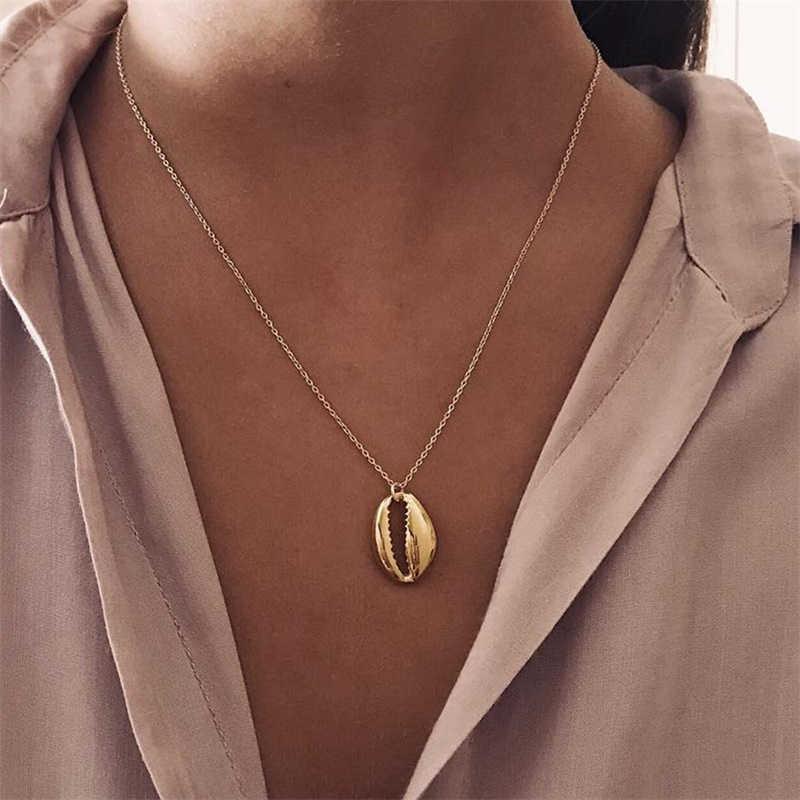 2019 新貝殻ビーチシェルネックレス女性のためのボヘミアンゴールドネックレスジュエリー
