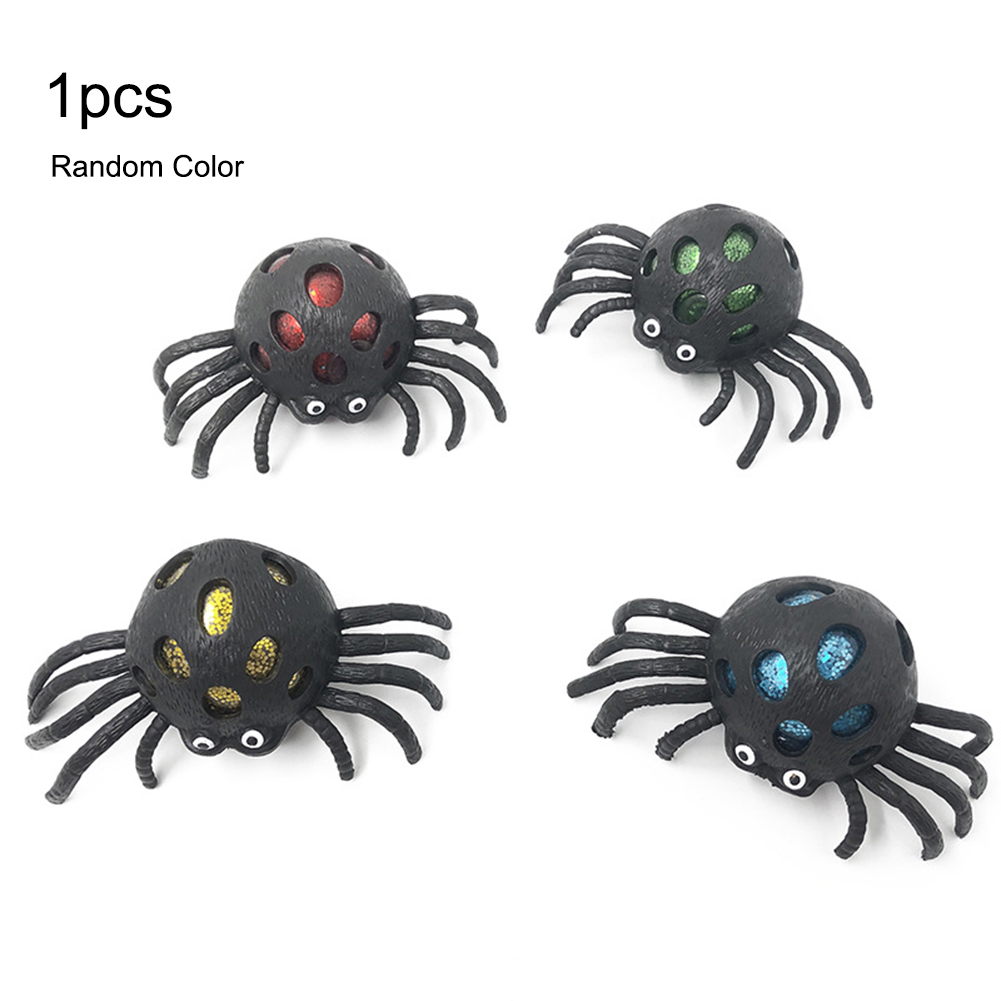 Colorful Cute Spider Mesh Ball Stress Squeeze Grape Toys Halloween Anxiety Relief Kids Toy Antistress
