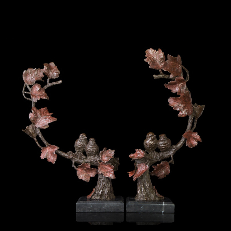 ATLIE BRONZES fleurs et oiseaux salon décoration laiton statue style traditionnel chinois maison réchauffement cadeaux de mariage