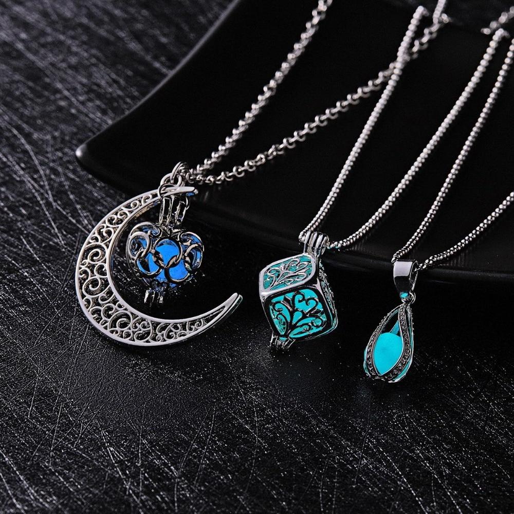 Ожерелье женское светящееся в темноте, кулон в форме Луны, квадрата, сердца, светящаяся в темноте подвеска в виде капли воды, ночью, светящие...