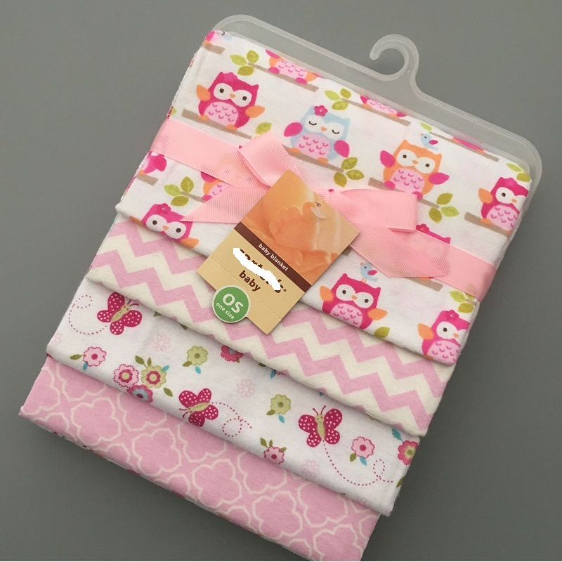 100%cotton baby blanket 4pcs/lot flannel Baby quilt receiving newborn colorful cobertor bedsheet supersoft 76x76cm