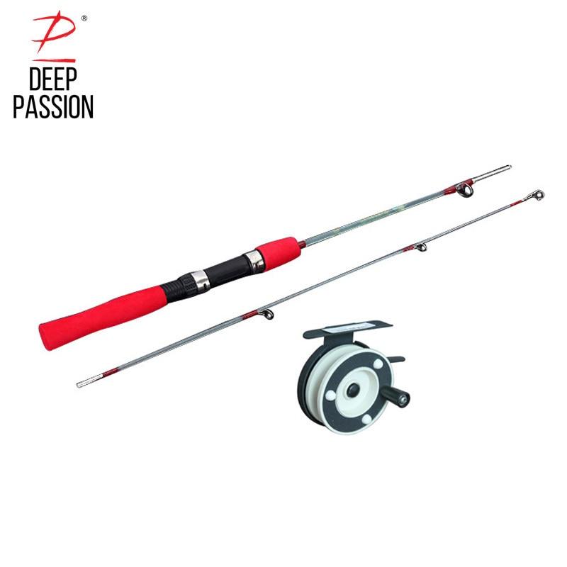 DEEP PASSION Sea Fishing Rod Ice Pole Winter Carp Portable Telescopic Stick Fishing Rod Reel Set Pesca Holder for Fishing Pole