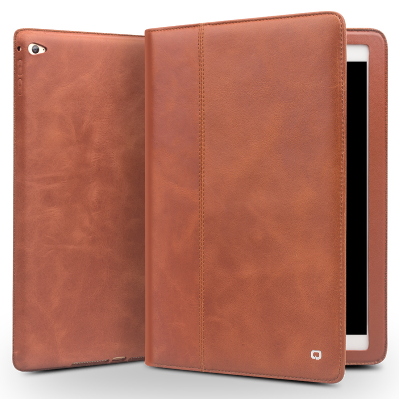 QIALINO Luxury Genuine Leather Case for iPad mini4 Smart Stand Flip Stents Automatic Black Wake up & Sleep Function Tablet Cover kisscase for apple ipad mini 4 cover case wake up smart sleep magnetic flip cover ultra slim pu leather covers for ipad mini 4