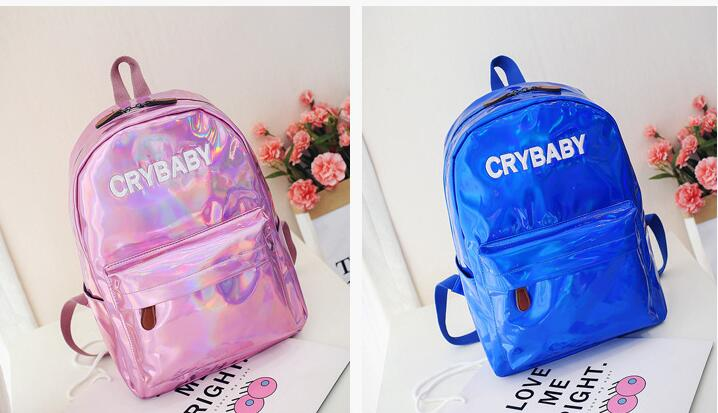 1 piece hologram backpack laser daypack girl school bag female silver pu leather holographic bag mochila schoolbag in Backpacks from Luggage Bags