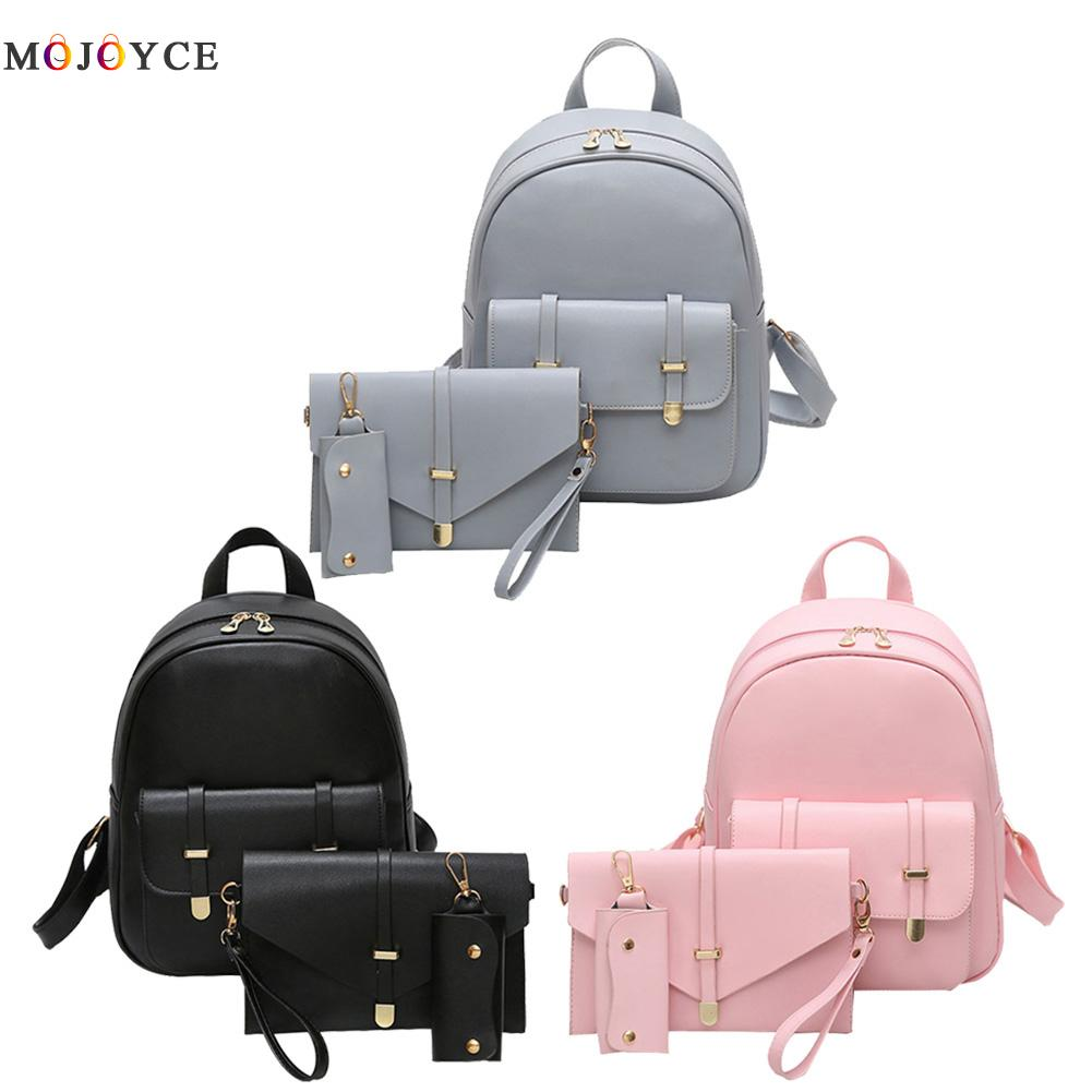 3pcs/set Pu Leather Women Backpack Girls Solid Shoulder Mini Backpack Lady Composite Bag Mochila Feminina #2