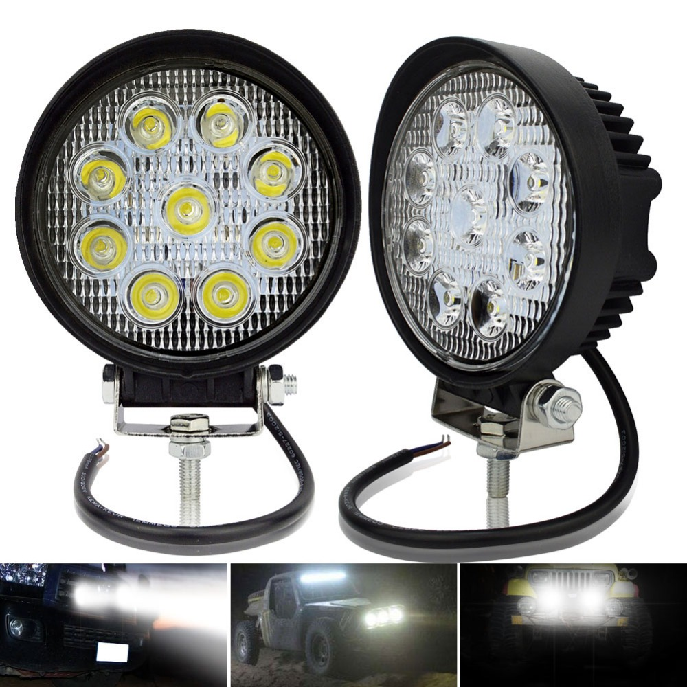 Safego 2pcs ATV 4 inch 27W led work light lamp 12V LED tractor working lights bar spot Flood off-road off road 4X4 car truck 24V