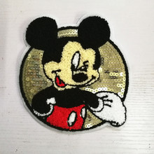 1Pcs New Mickey sew On Embroidered Patches For Clothes Cartoon Badge Garment Appliques Sequins DIY