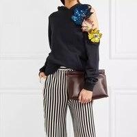 2018 Arlenesain customed Women Hoodies Sweatshirts Long Sleeve Irregular Off Shoulder With Hat Sequin Flowers