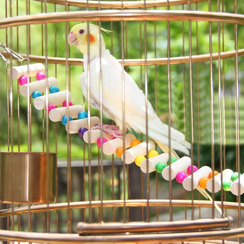 4 Styles Birds Toys Large Parrot Toys Drawbridge Bridge Wooden Singing Cockatiel Pet Toy Accessories