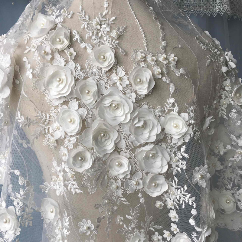 French Lace Fabric with 3D flowers High Quality African Tulle Lace Fabric with beads off white light yellow lace fabricFrench Lace Fabric with 3D flowers High Quality African Tulle Lace Fabric with beads off white light yellow lace fabric