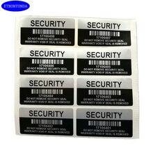 100 Серебряный цвет пустота безопасности этикетки удалены вскрытия явный гарантийный уплотнительный стикер с серийным номером и штрих-кодом