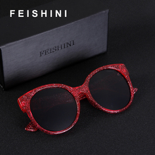 FEISHINI Stars Shine Plastic Frame Festival RED Cateye Sunglasses Ladies HD Mirror 2018 Fashion GG Women Glasses UV Protector