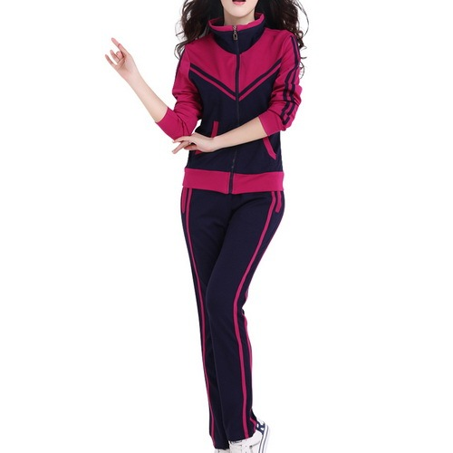 TLZC Patchwork Style Women Casual Suits Size L-5XL Zipper Fly Lady Tracksuits Mandarin Collar Lady Popular Sportswear