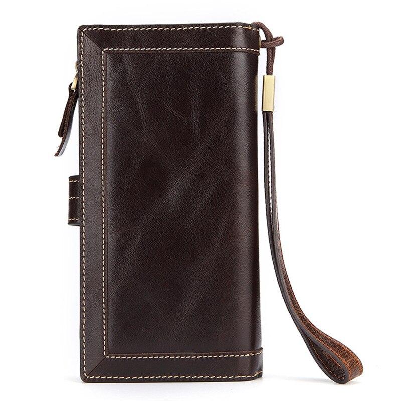 c6aeadd50 Al sur de los hombres de carteras de cuero genuino de lujo monedero de  cremallera cartera Multi funcional tarjeta monedero de la moneda de los  hombres ...
