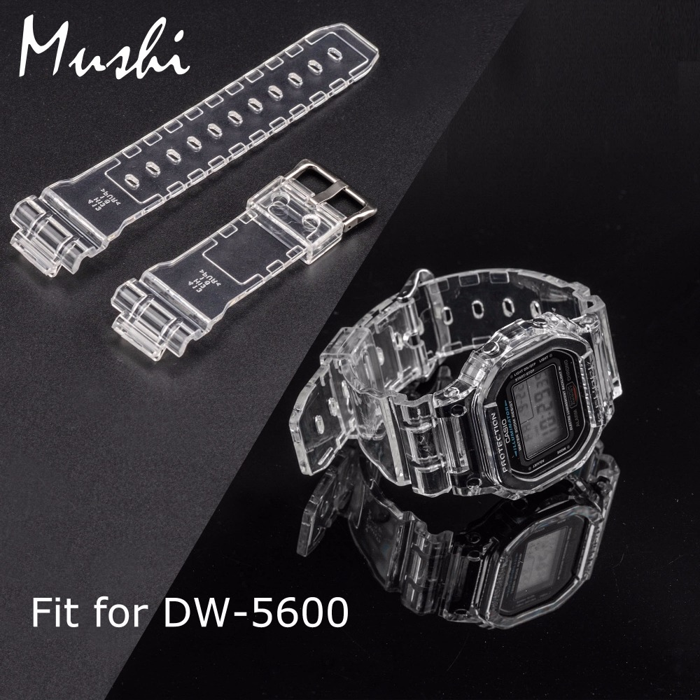 MS Silicone Watch Strap for Casio DW 5600 Transparent Men  Sport Diving 16mm Watchband Metal Buckle Watch band Watch Case + Tool hengrc 22mm rubber watch band strap men soft diving black hole silicone sport watchband bracelet metal pin buckle accessories