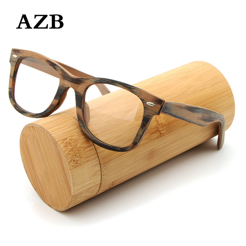 AZB Prescription Glasses Wooden Retro Frame Myopia Glasses with Optical Lens Wood Square Prescription Eyeglasses Spectacle