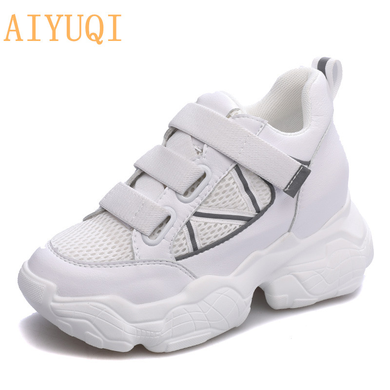 AIYUQI Shoes women sneakers fashion 2019 new summer height Increasing white mesh breathable casual shoes