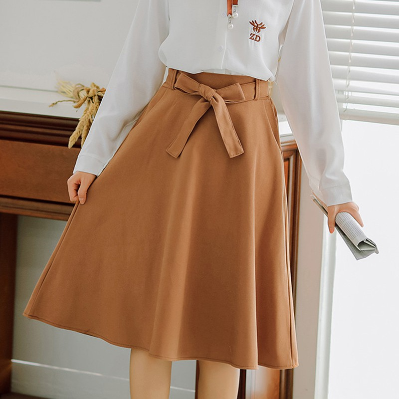 Image 4 - Elegant Women Skirt High Waist Pleated Knee Length Skirt Vintage A Line Big Bow Skirts